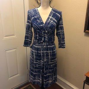 Seraphine Maternity Dress Blue & Ivory Size 6